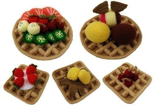 Crochet Pattern - WAFFLES - Toys / Playfood - PDF