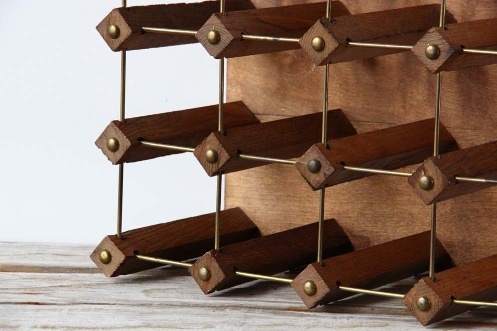 Modern Wood Brass Peg Wine Rack By Gallivantinggirls On Etsy
