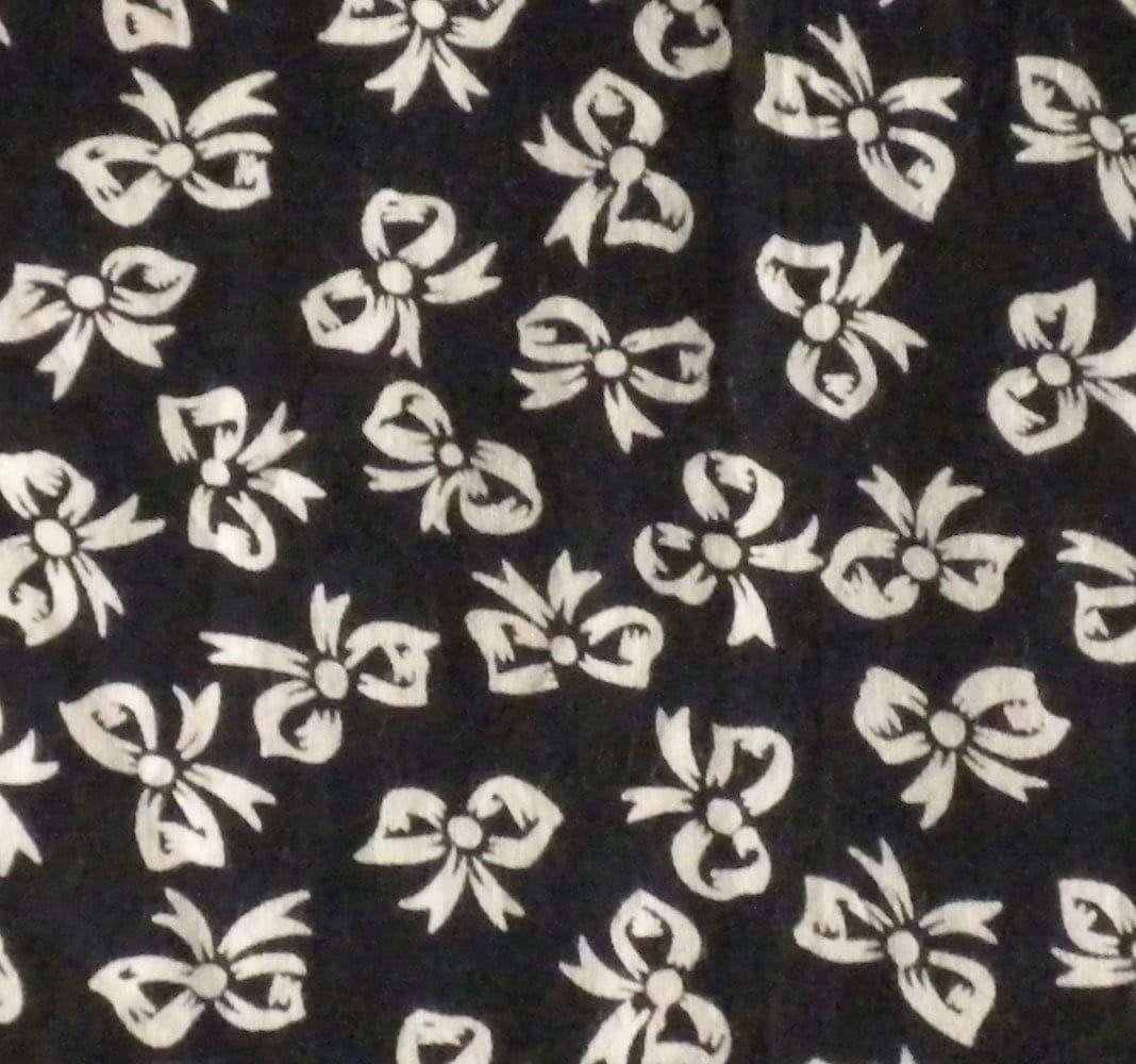 Printed cotton fabric black and white bow pattern fat by for Black and white fabric