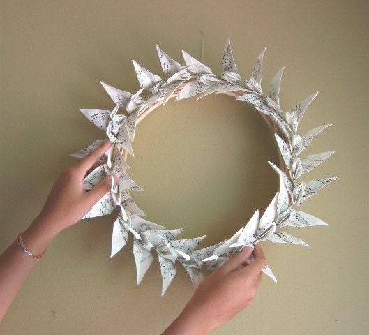 Sheet Music Origami Crane Wreath