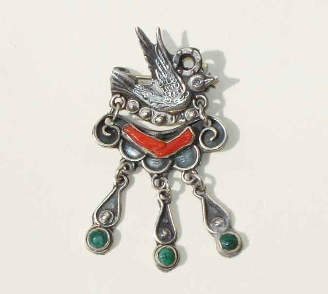 Vintage Mexican Brooch Love Bird Dove Sterling Silver Turquoise Coral Pin & Pendant - metroretrovintage