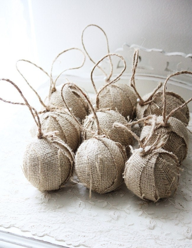 Set of 9 Burlap Rag Balls...