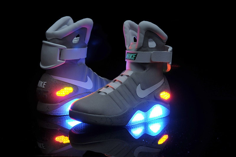 Shoes Back To The Future Movie. Marty McFly's Nike MAG LED Sneakers from 80's BTTF Michael J Fox Film. Glow in the Dark. Rare! Brand New! - GoBackToTheFuture
