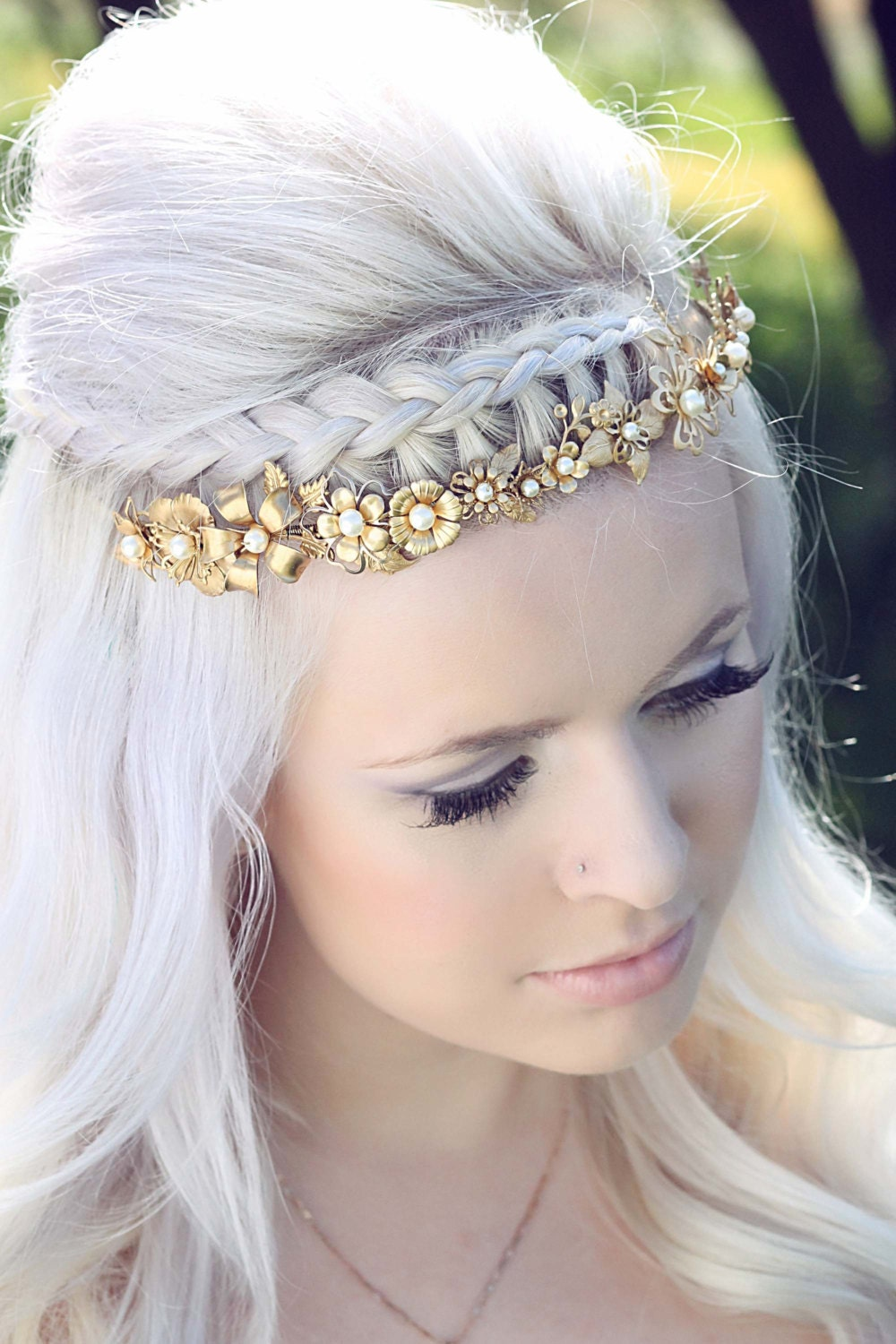 Floral Bridal Headdress : Cinq gold flower headpiece floral bridal by