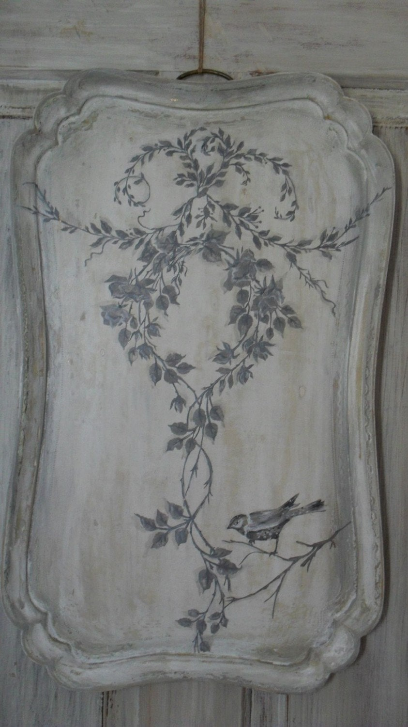 Hand Painted Serving TRAY wall art, French Fresco Bird art chic