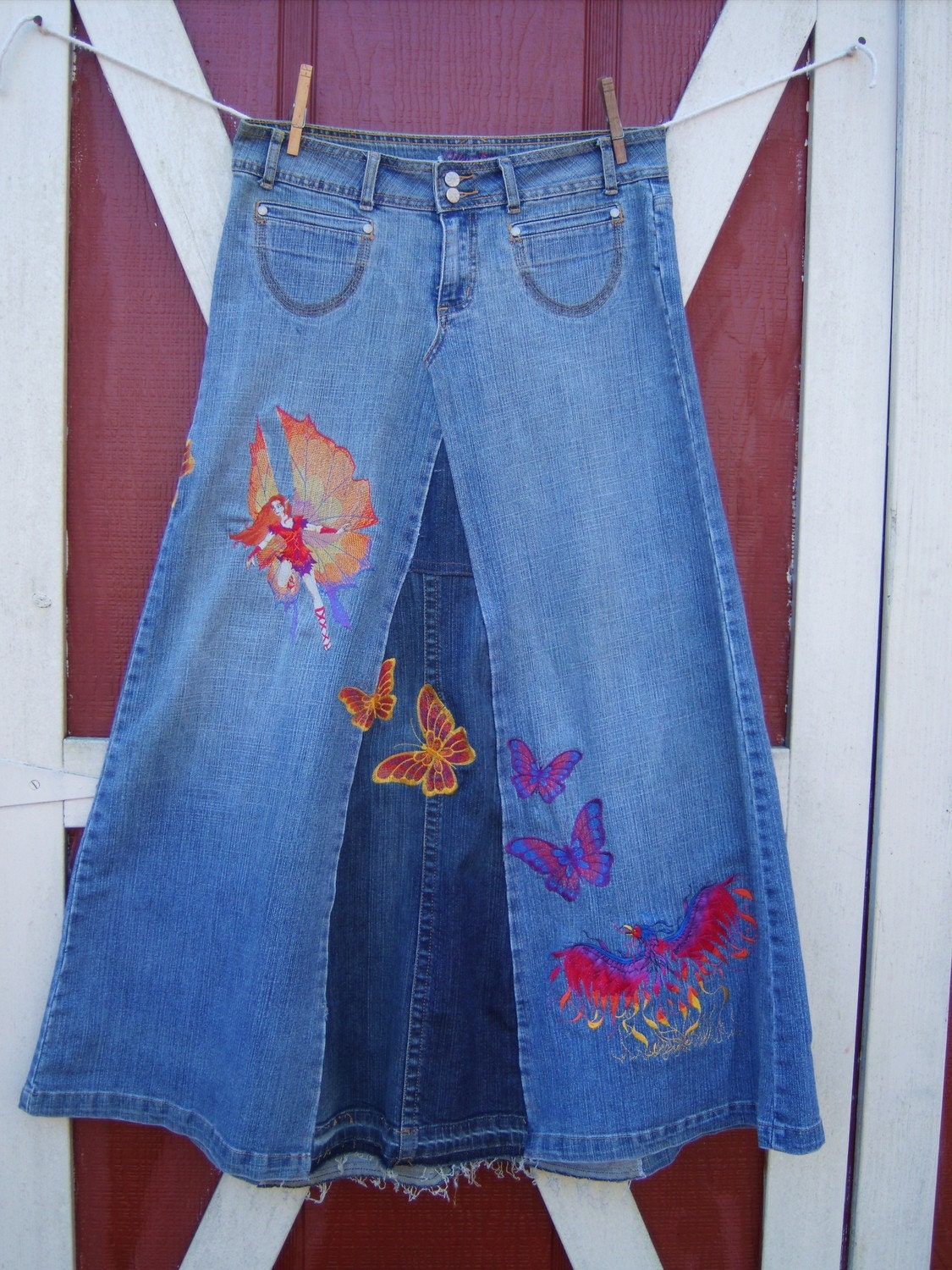 Embroidered Jean Skirt Strong Beautiful Woman By Bohemianblue