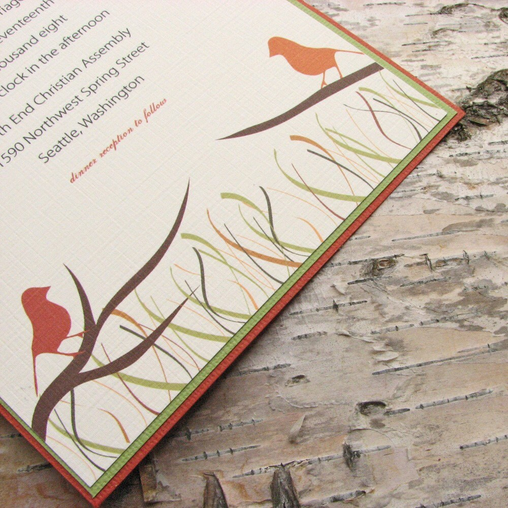Autumn Birds Wedding Invitation