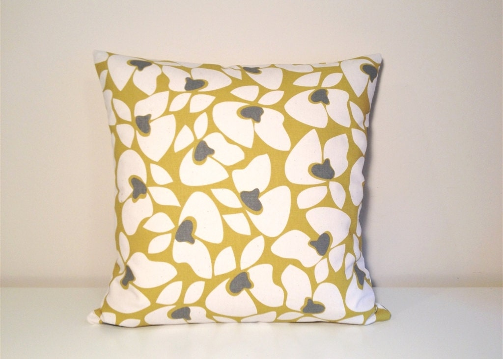 Items similar to CLEARANCE Decorative Throw Pillow Cover. 16 x 16 Inches. Mustard Yellow Floral ...