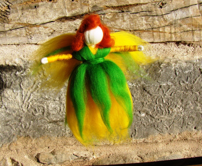 felted fairy doll daffodil fairy gift needle felted flower fairy wool angel doll wool fairy doll elf kendal fairies winter gift Christmas UK