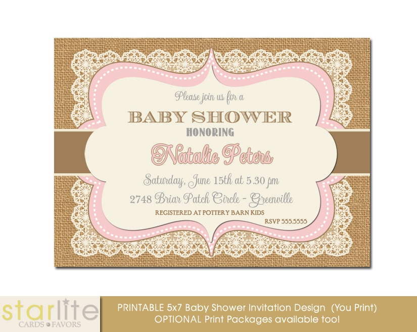 vintage style baby shower invitation, pink and brown