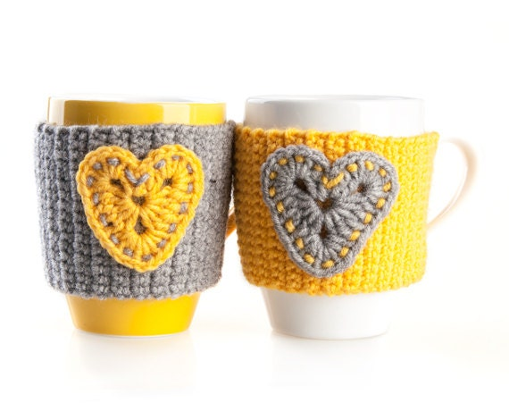 Set of 2 Hand Crocheted Mug Warmers. Cup Cozy. Yellow Gray With Hearts - LittleKnittedThing