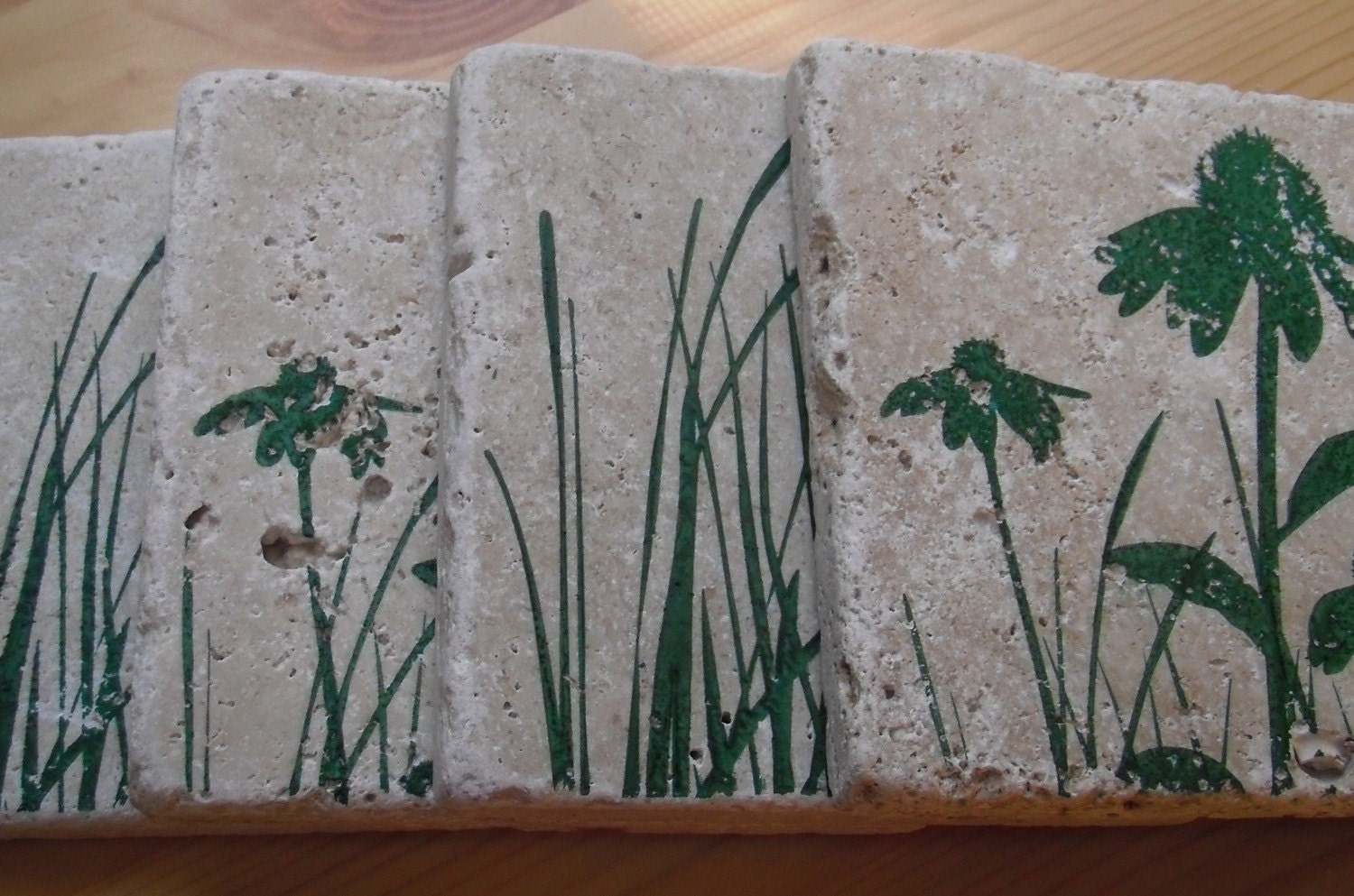 Set of 4 Green Grass Coasters