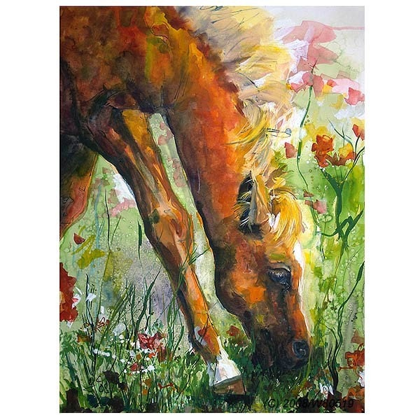 REDUCED Grazing Peacefully Original Watercolor and Ink Painting by Ginette Callaway