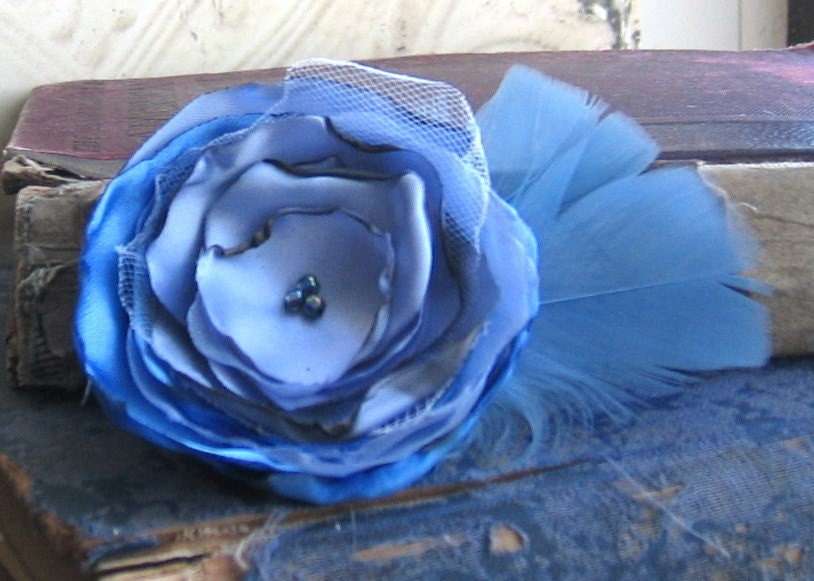Wild Flower Brooch in Orchid Blue with Feathers No. 2