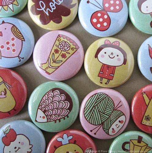 Pick Any 5 Doodle Badge - 1 Inch Badge Pin
