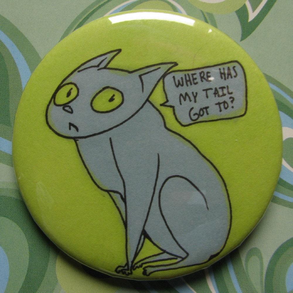 KITTY CAT original art pinback button