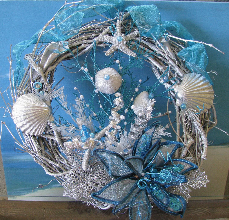 Coral Reef Wreath Aqua And Silver Seashell By CeShoreTreasures