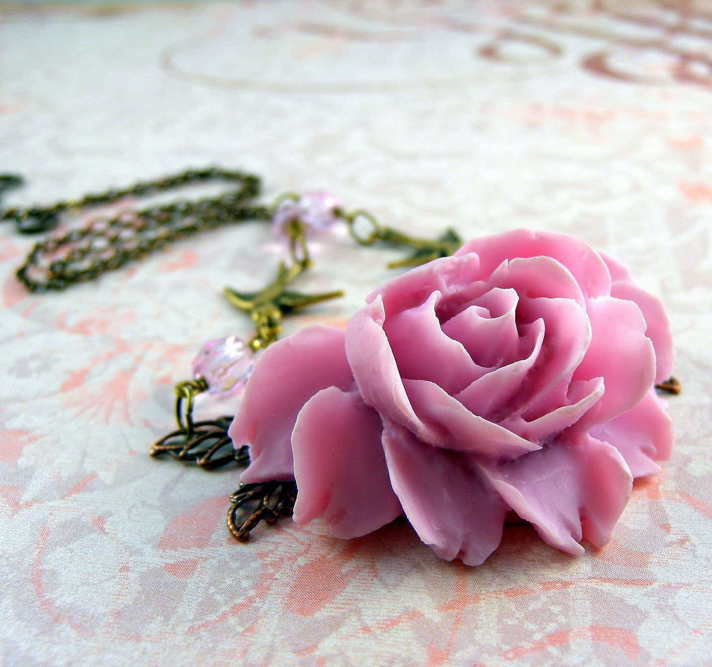Handmade Jewelry on Etsy - Romantic Baby Pink Rose by decoratethediva