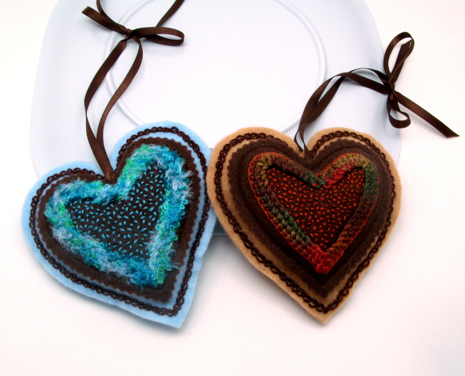 Brown and Blue Heart Ornaments, Home Decor, Felt and Embroidery Decoration, Set of Two - LaurelSusanStudio