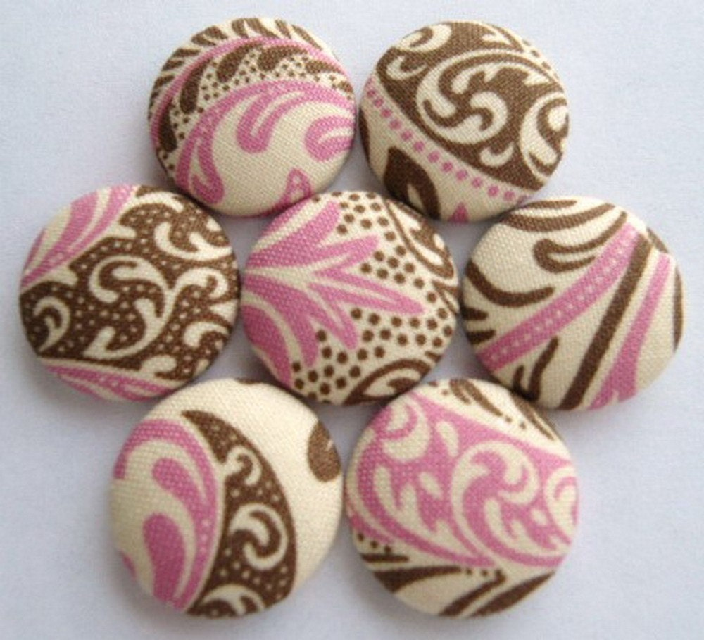 Big Fabric Magnets or Thumbtacks - Neapolitan - pink, brown and cream mix