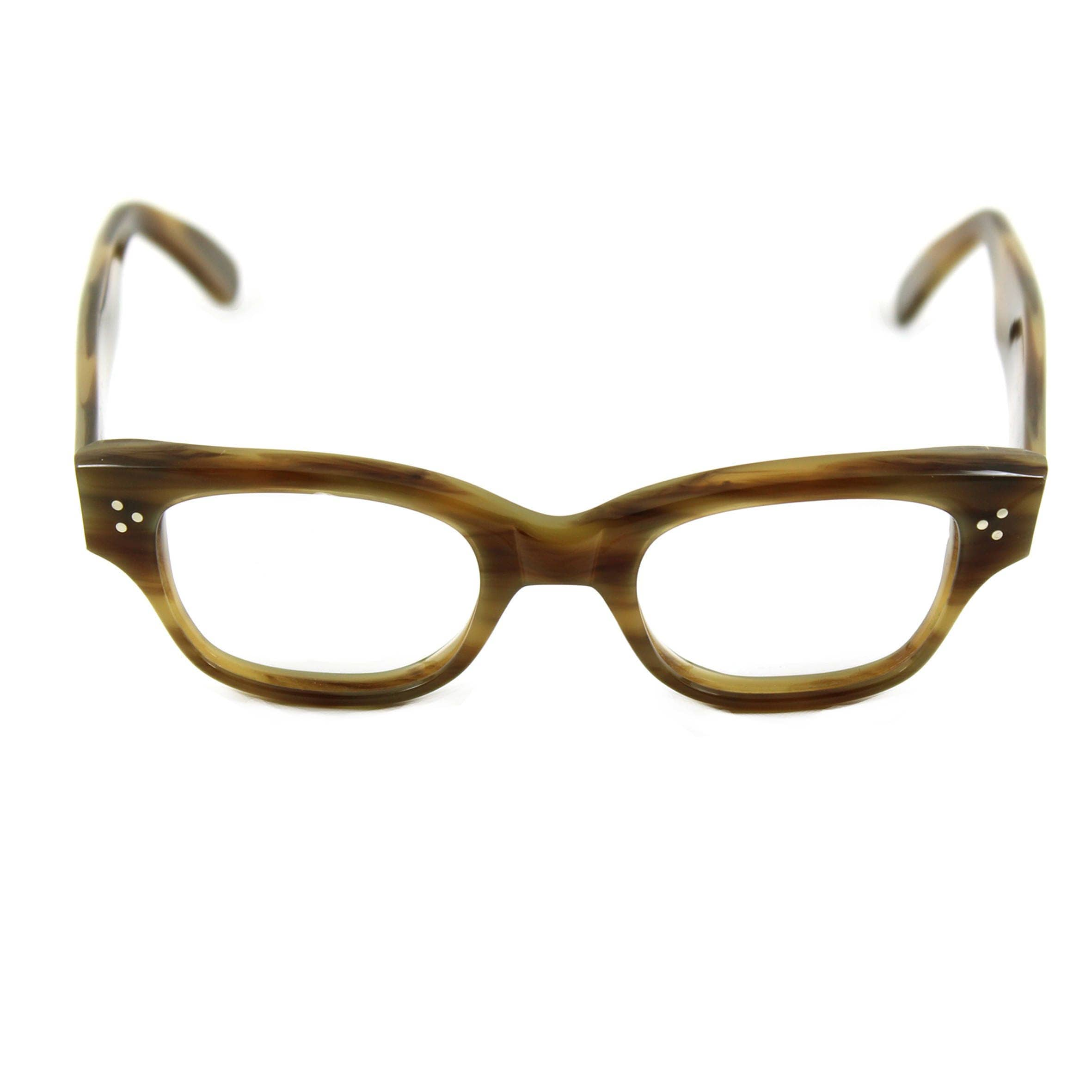 Handmade spectacles Bold artistic beatnik HOWARD Havana Olive Contemporary unisex Style inspired by original 1950s 60s designs. Rx ready
