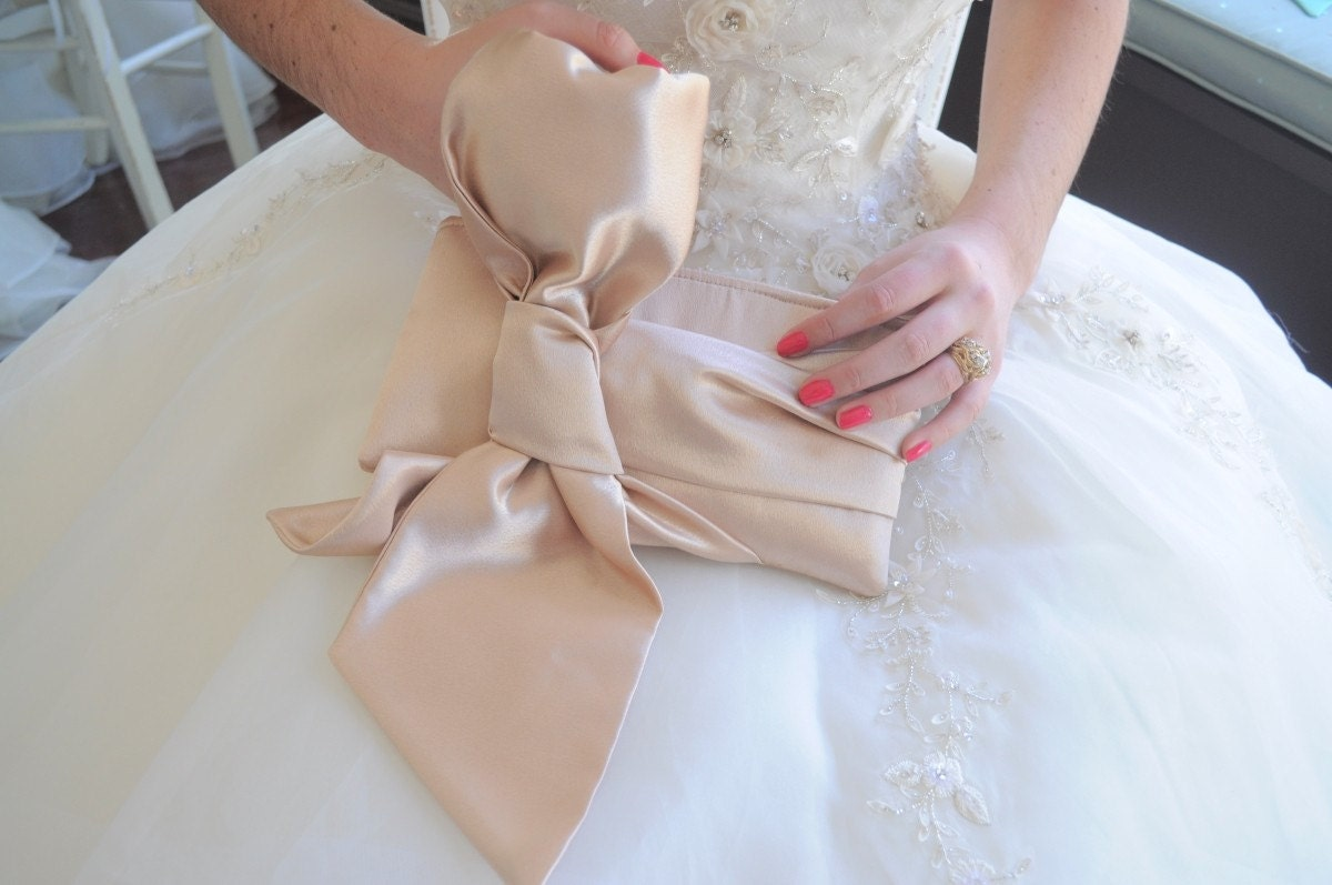 Bridal Clutch - The Elle Jane Clutch - Nude Satin
