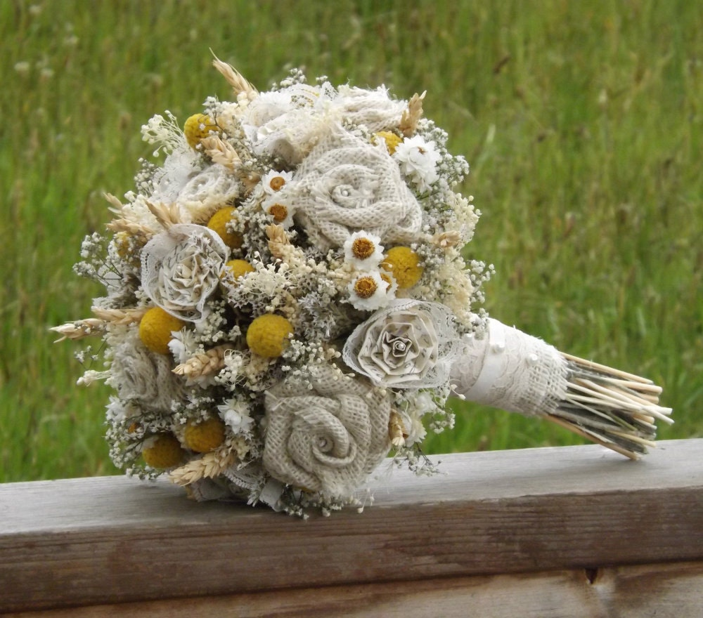 How To Dry A Bridal Bouquet Of Flowers : Dried flower bride bouquet craspedia burlap by
