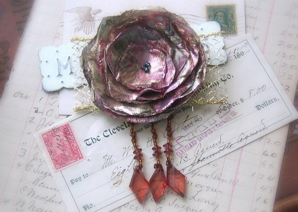 Pink and Gold A Shimmering Wild Flower Brooch with Fringe