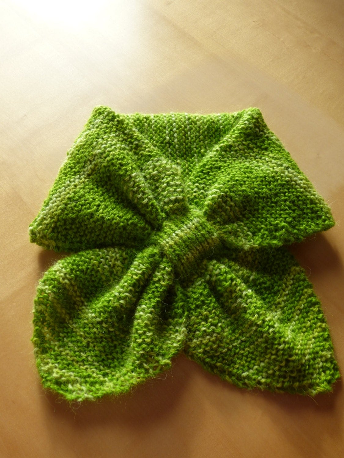 Alpaca  Hand knitted vintage style bow scarf.