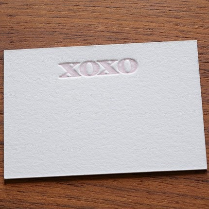 Letterpress Pink XOXO small Note Cards