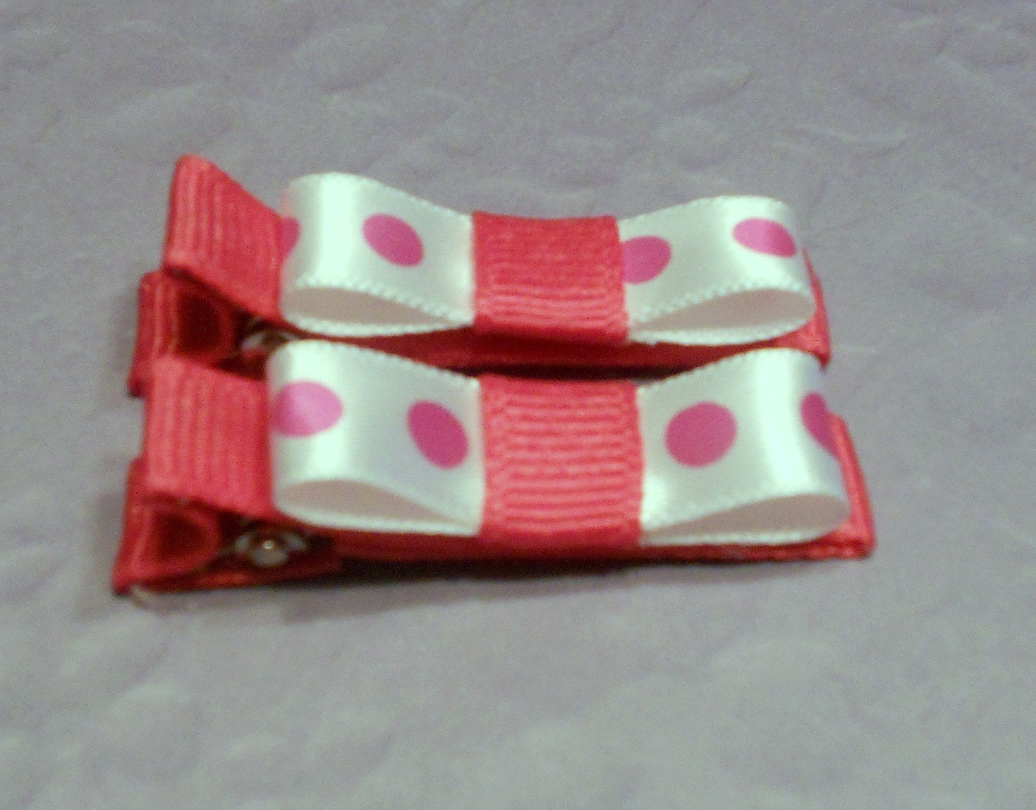 CLEARANCE -- Cute Pink Polka Dotted Mini Bow Hair Clips