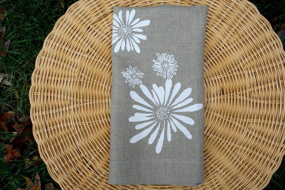 Linen Tea Towel - White Flowers. Natural Flax. Hand Screen-Printed.