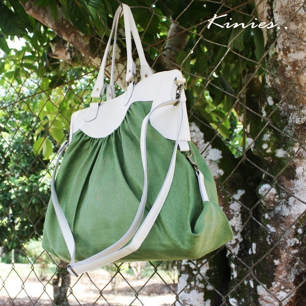 DISCONTINUED DESIGN / CLEARANCE- Sassy Linen Tote / Messenger in GARDEN GREEN