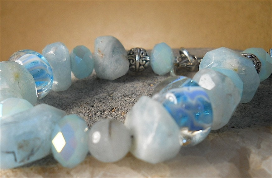 HUGE SALE-15% off Today Baby Blue Boro Beads and Genuine Chunky Aquamarine  Bracelet in Spring Pastels