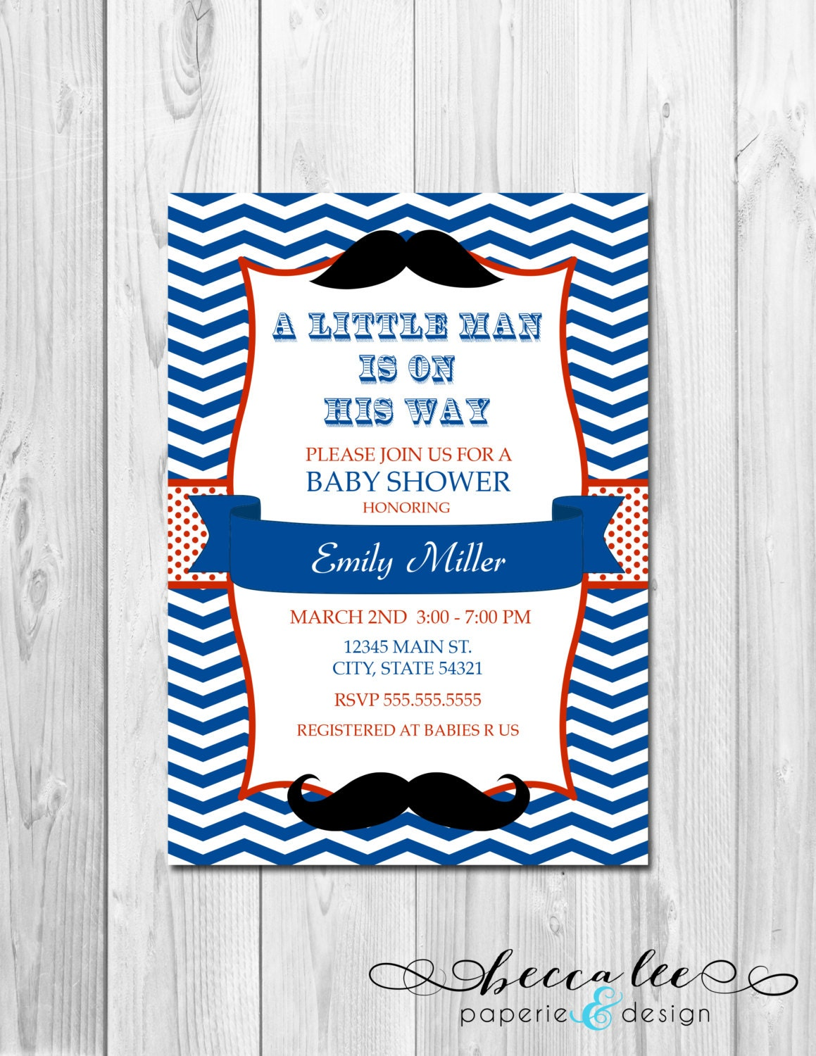 little man mustache baby shower invitation chevron stripes diy