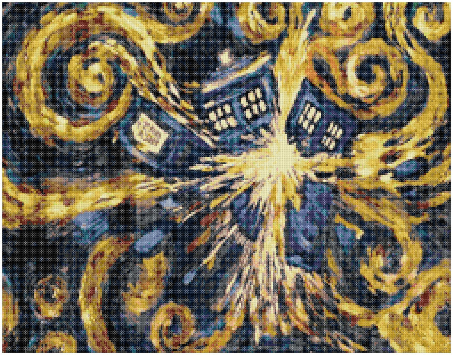 exploding tardis cross stitch pattern doctor by