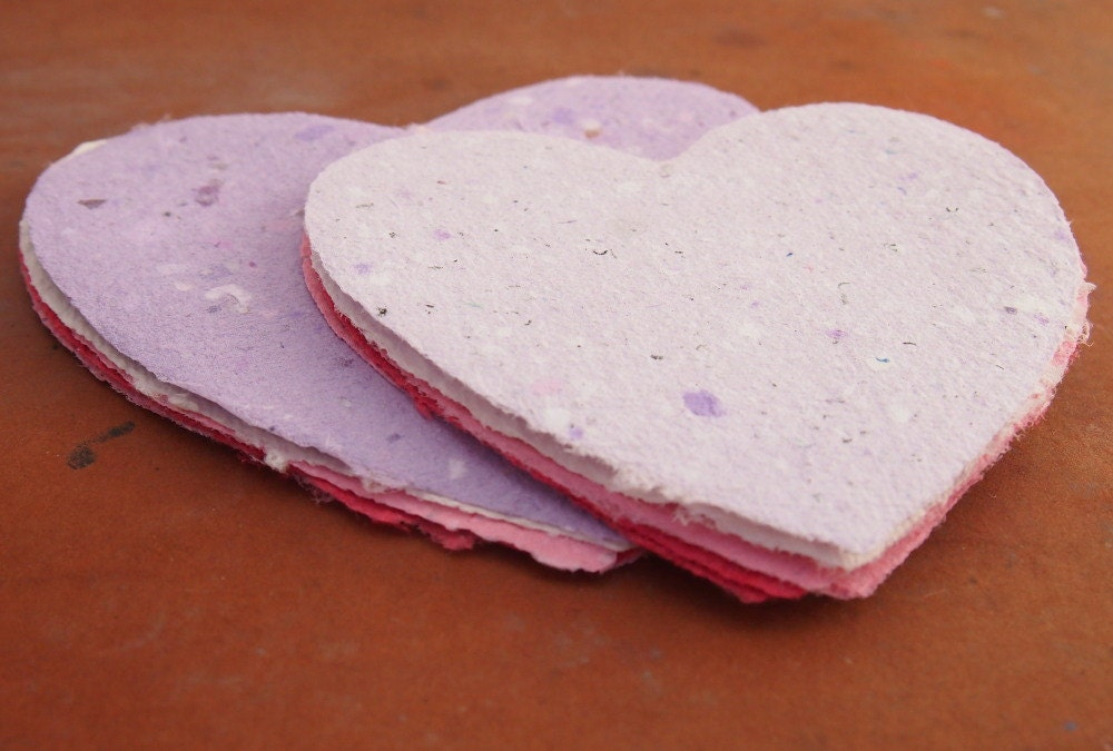 Handmade Recycled Paper - Hearts
