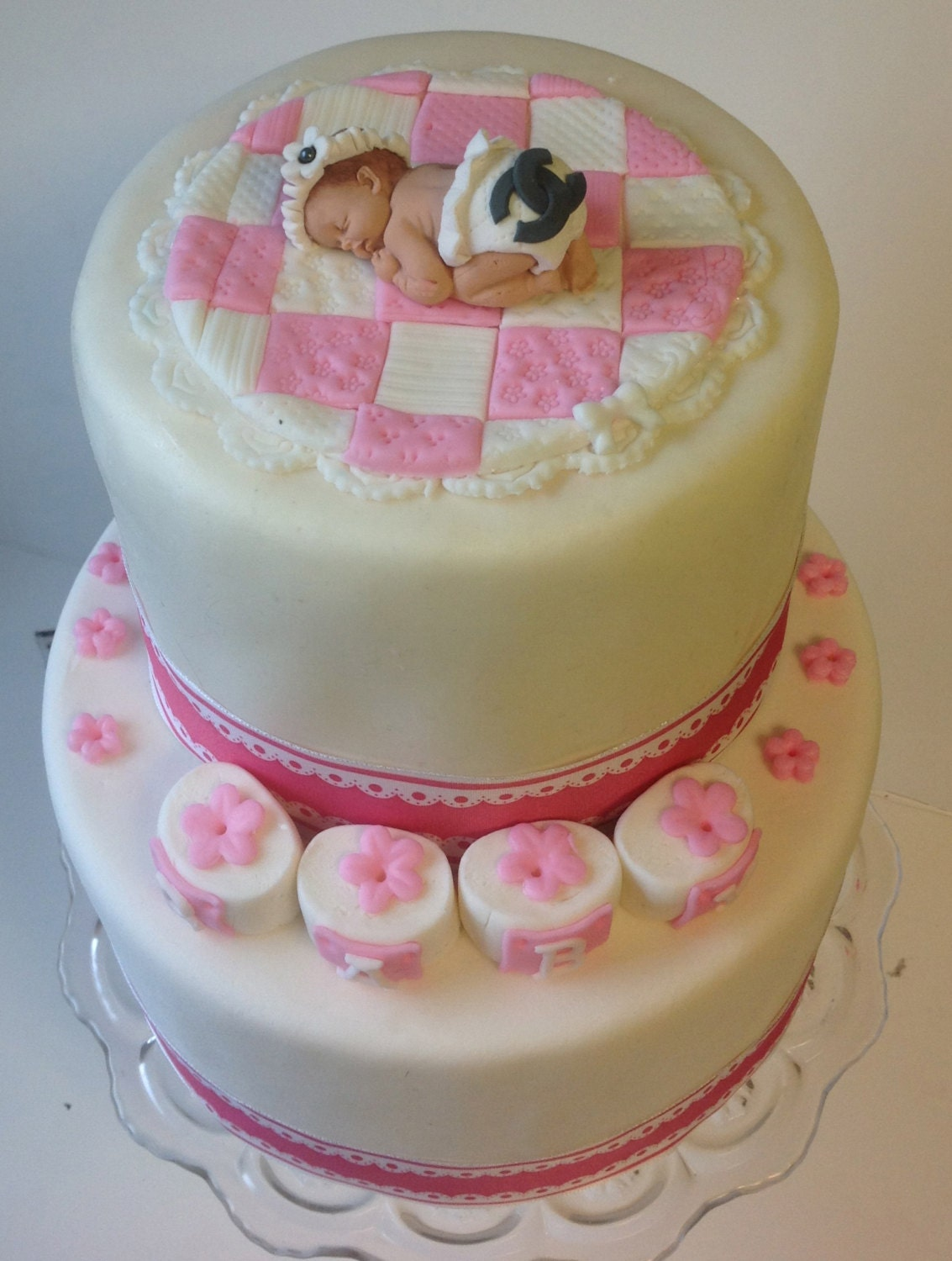items similar to baby shower cake topper baby girl on baby quilt with