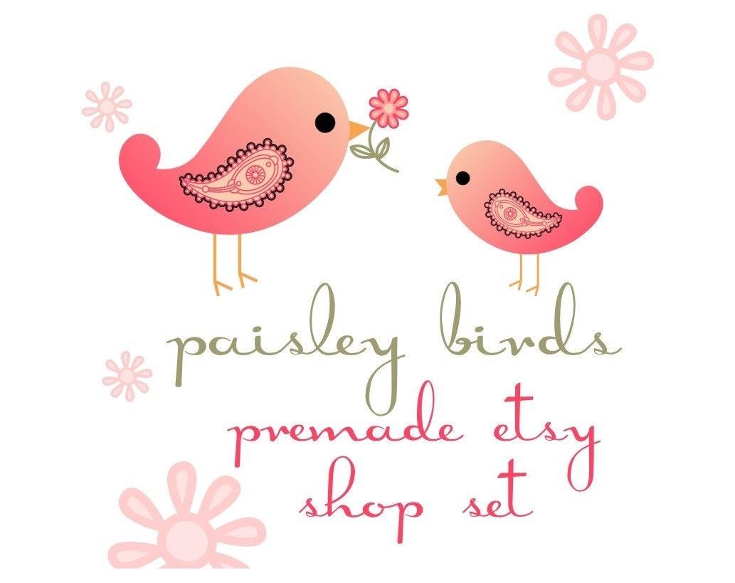 Paisley Birds Pre Fab Etsy Shop Set