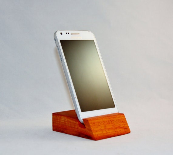Wood Phone Stand Exotic African Padauk Solid Hardwood Fits iPod iPhone, Samsung Galaxy S2 S3 S4 Android - RobsRustics
