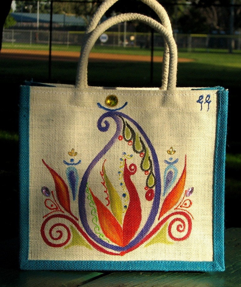 Handpainted cream and blue jute lunch bag