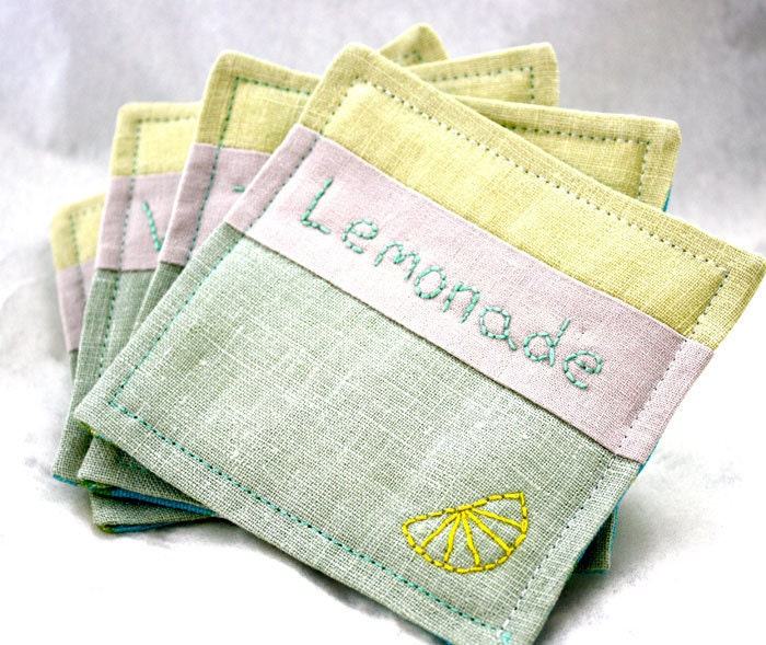 Lemon and Lime Summer Fun Coasters Hand Embroidery