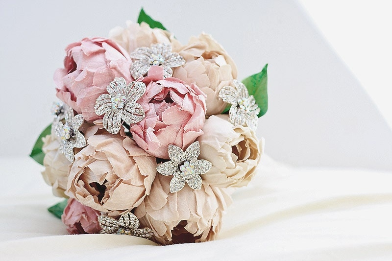 NEW- Forever Spring - Roses and Daisies Bridal Bouquet - Handmade pure dupioni silk flowers and sparkling rhinestone brooches - One of a kind creation SPECIAL PRICE