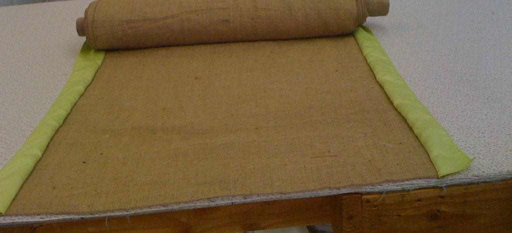 Burlap Custom Made Aisle Runner 50ft with Apple Green satin border on both