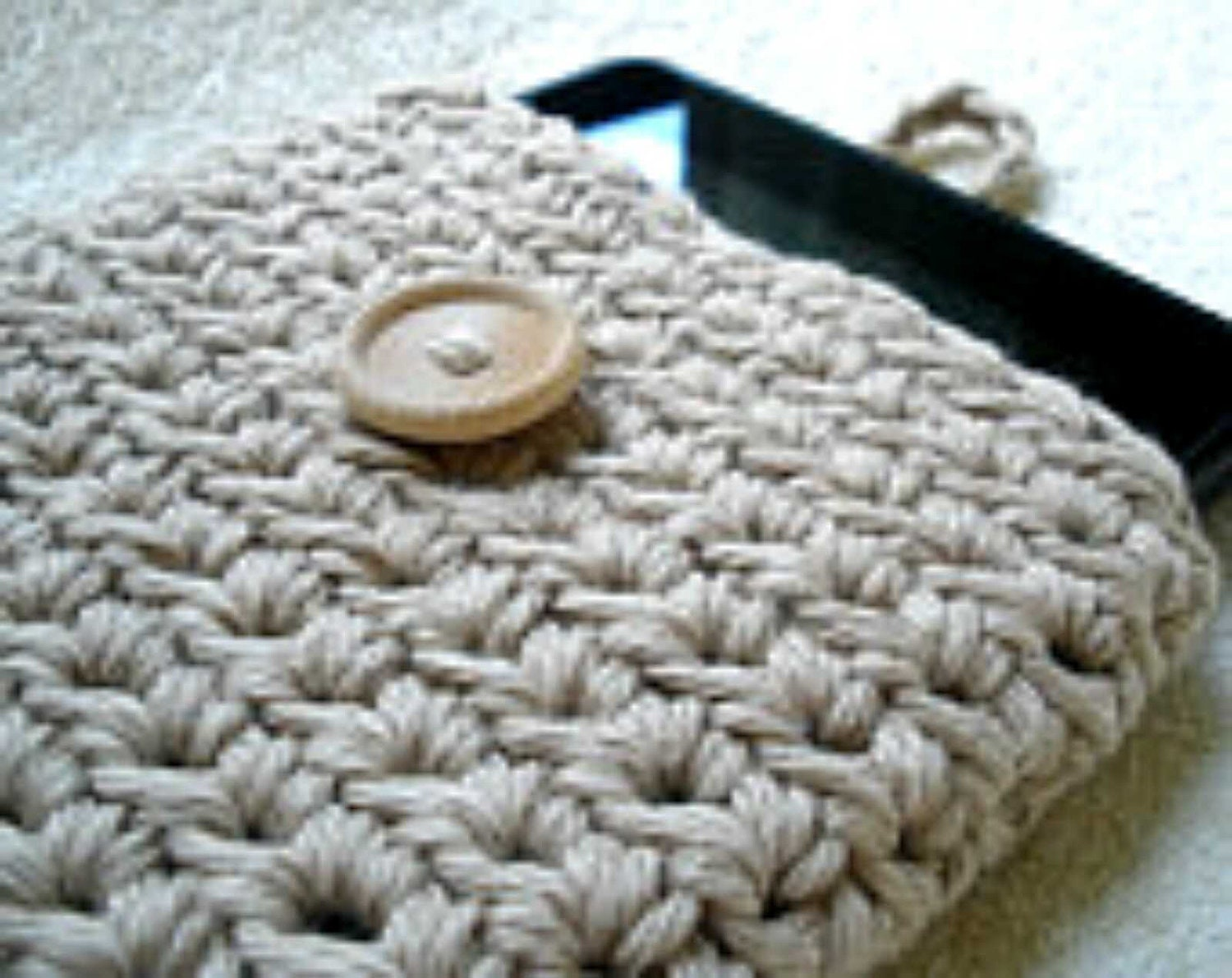 Kindle Fire eReader Cover Sleeve in Taupe Beige 100% Cotton Crochet - Ready-to-ship - TheChickOfAllTrades