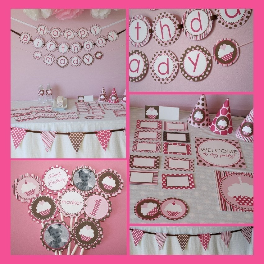 Cupcakes Pink and Brown...Printable Party Package by DimplePrints