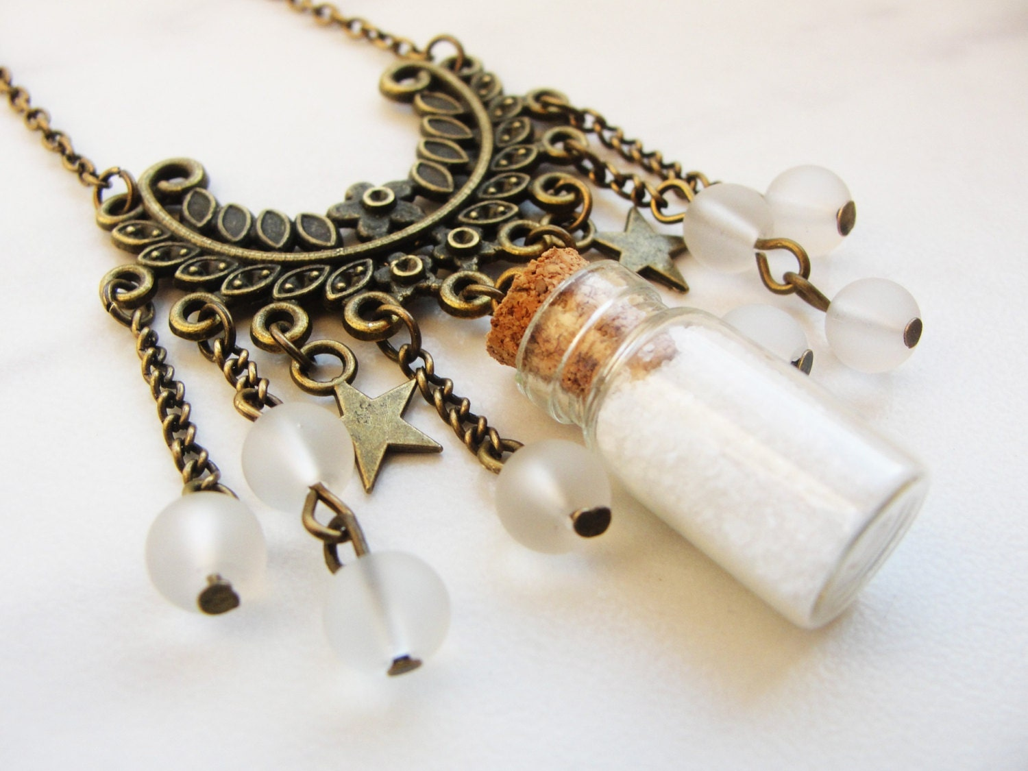 GOTHIC long winter bottle necklace, white sand, white beads, stars and frosted beads, message in bottle necklace, fantasy, Christmas edition - GothicAndLolita
