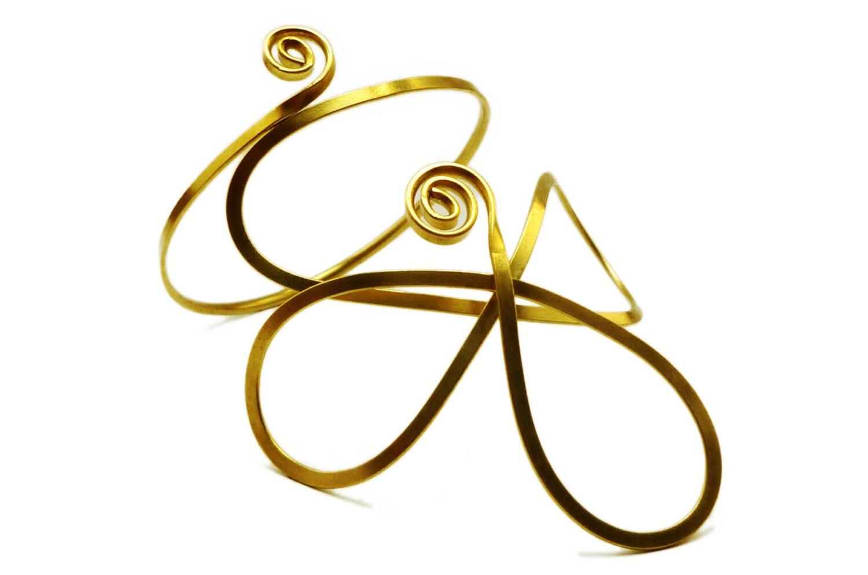 Wire Wrapped Brass Armband - Flower Arm Bracelet - Golden Upper Armband - Cocktail Jewelry - HyppieChic