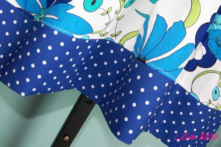 Lillian Belle Girls Halter Dress Blue Floral Dot Print Custom Size 12M 18M 2T 3T 4T 5 6