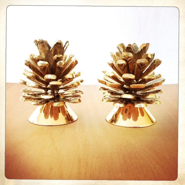 vintage brass pinecone candle holders pair autumnal decor - amysvintagedecorium